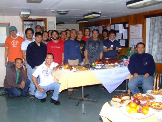 Filipino Officers & Crew celebrating Christmas 2008 in Canada