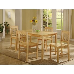 5 PC. Set Natural Solid Pine Wood Dining Room Kitchen Table and 4 Chairs