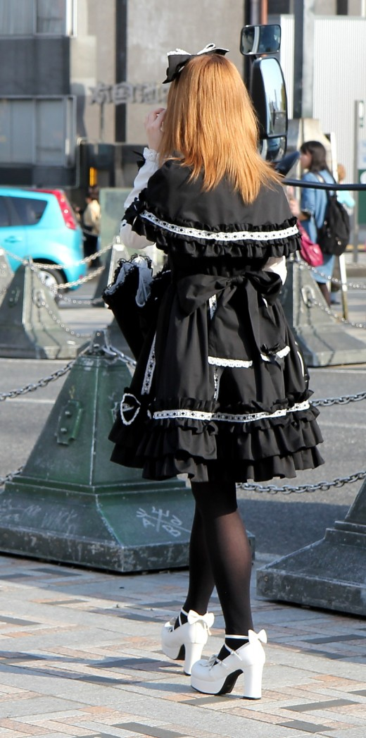 A sensational gothic inspired outfit - this very pretty dress is breathtakingly beautiful and the white platform heels add the perfect touch to a stunning outfit that created a lot of interest on the fashion crazy streets of Harajuku