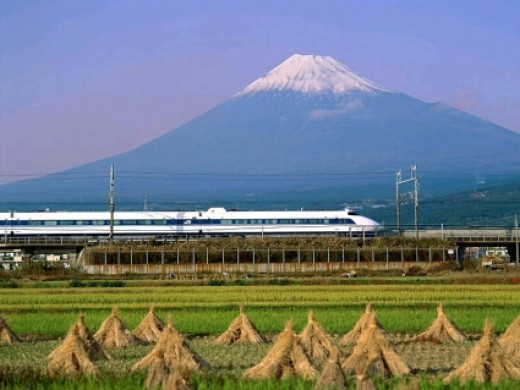 Mount Fuji, Shinkansen, and some fields.