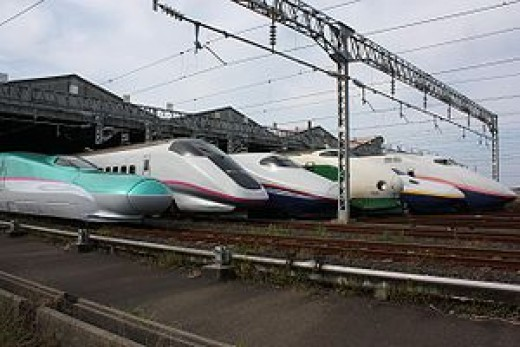 A line up of bullet trains currently in use.
