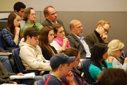 UHP students and professors gather for some hearty discussion.  Tough issues... but good times!