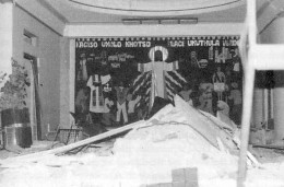 The image of Jesus the Prince of Peace remains over the bomb scarred entrance hall of Khotso House. Photo Bernard Spong