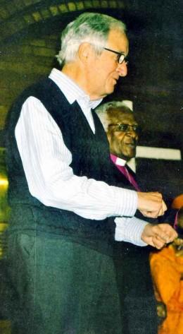 """Bernard with Desmond Tutu at the launch of Bernard's book """"Sticking Around"""". Photo Tony McGregor"""