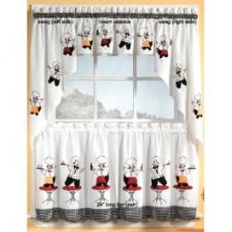 Cheers Chef Insert Valance Kitchen Curtains