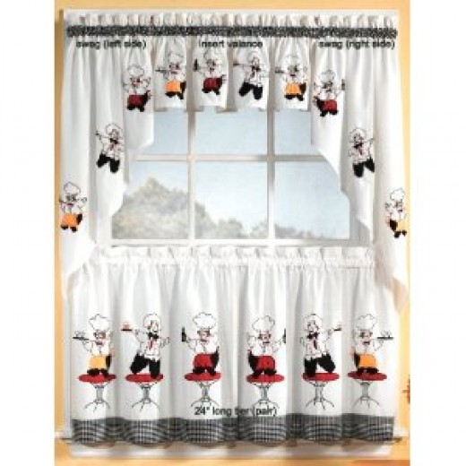 Cheers Chef Insert Valance Kitchen Curtains