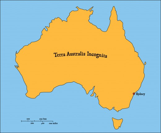 Terra Australis Incognita - latin: The Unknown Land of the South. A Good place to start - Australia as a blank canvas