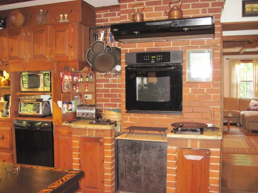 Note the restored brick & woodwork in the kitchen.