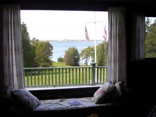 Looking out the dining area window toward Eastport Maine