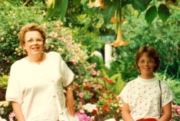 My mother and niece inside the conservatory