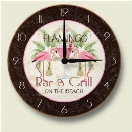 Pink FLAMINGO Bar & Grill Decorative Wood Wall Clock