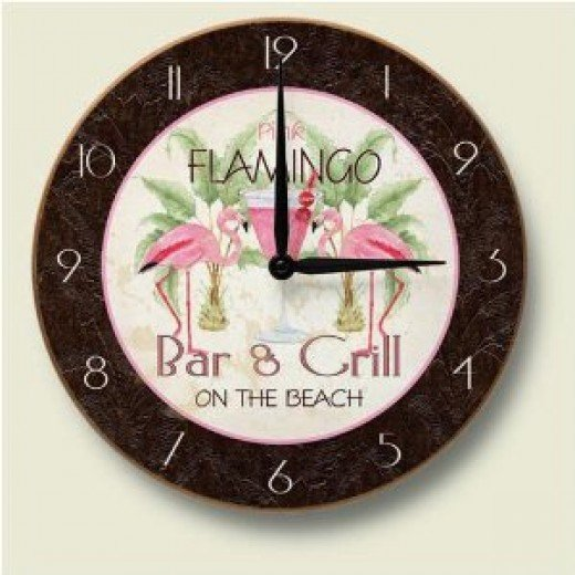 Pink FLAMINGO Bar & Grill Decorative Wood Wall Clock