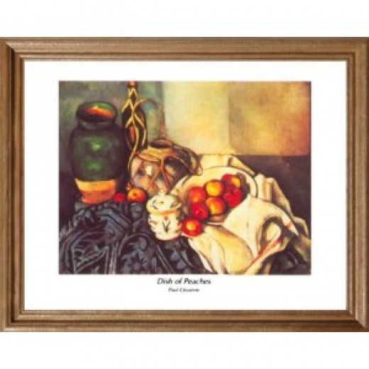 Cezanne French Wine And Peaches Picture Oak Framed Art Print