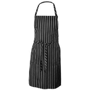 Chef Works CSBA-BCS Chalk Stripe Bib Apron with Pockets, 34-1/4-Inch Length by 27-Inch Width, Black/White