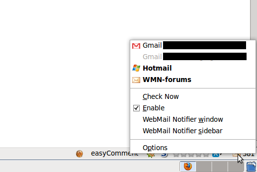 The right-click menu after I had done the configuration. I have 2 Gmail accounts, and only the first one can be auto checked for email.