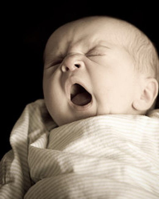 Yawning after birth!