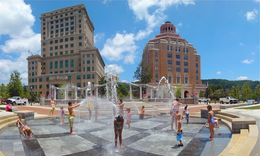 Downtown Asheville's newest feature!  Splashville! Photo by Jim White