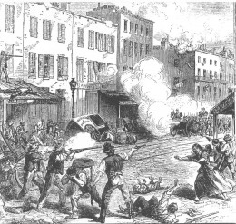 Depiction of the Draft Riots in 1863 from an unidentified periodical. © Pulic Domain