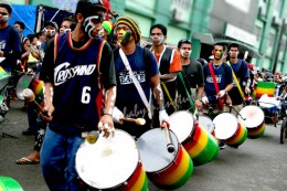 drums provide the main rhythm to the street dancing