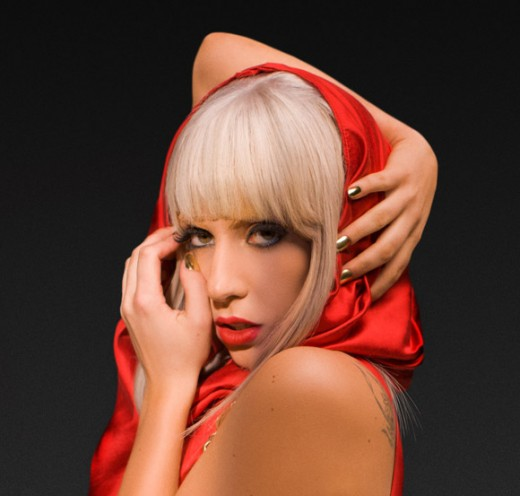 "Lady Gaga wearing Minx nails on the cover of her album ""Poker Face"""