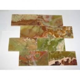 3x6 Multi Green Onyx Subway Brick Polished Tiles for Backsplash, Shower Walls, Bathroom Floors