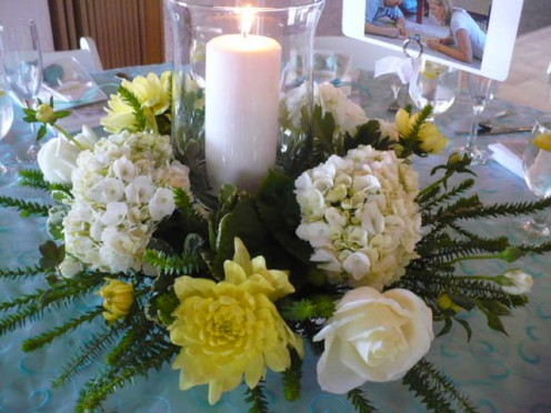 wedding centrepieces with hydrangeas, honey mrytle, white roses  and dahlias.