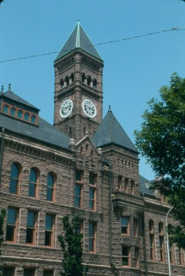 The Old Minnehaha County Courthouse, Sioux Falls, South Dakota, c. 1880s. Richardsonian Romanesque.