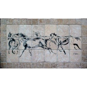 """Running Horses"" Tumbled Marble Tile Mural by EquuStone. Horse Image by Equine Artist Pat Stebbins. Kitchen Backsplash, Bathroom Wall Tiles."
