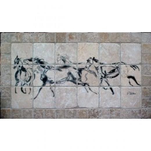 """Running Horses"" Tumbled Marble Tile Mural by EquuStone. Horse Image by Equine Artist Pat Stebbins. Kitchen Backsplash, Bathroom Wall Tiles."