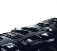 Sculpted buttons of Harmony One Logitech remote