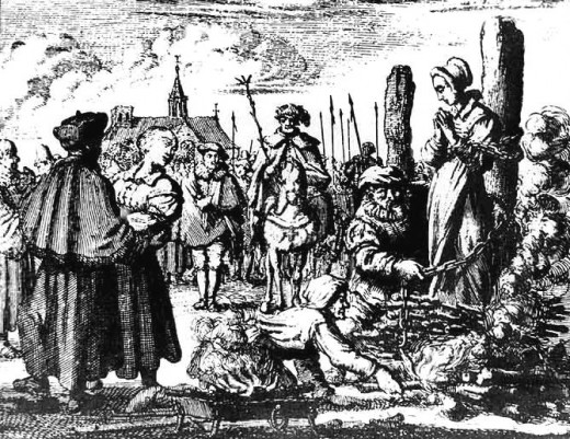 An artist's rendition of witch trials with the infamous burning at the stake. The scene in The Crucible varies only by method of execution.