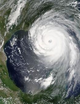 A satellite image Hurricane Katrina taken by NASA.