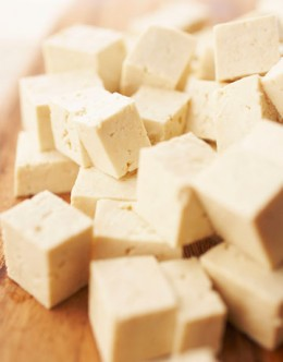 Tofu is a good source of calcium. By itself, tofu of this type has little taste, but it can be marinated to absorb a host of tastes.