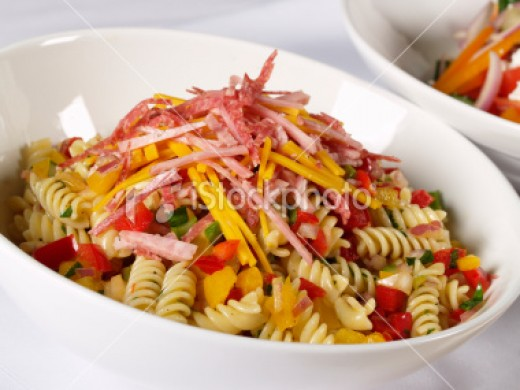 Precooked and chilled pasta can serve as a great base for a salad or mixed in with other ingredients.