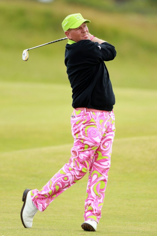 John Daly of the USA hits a shot on the fourth hole during the second round of the 139th Open Championship on the Old Course, St Andrews on July 16, 2010 in St Andrews, Scotland.    (July 15, 2010 - Photo by Warren Little/Getty Images Europe)