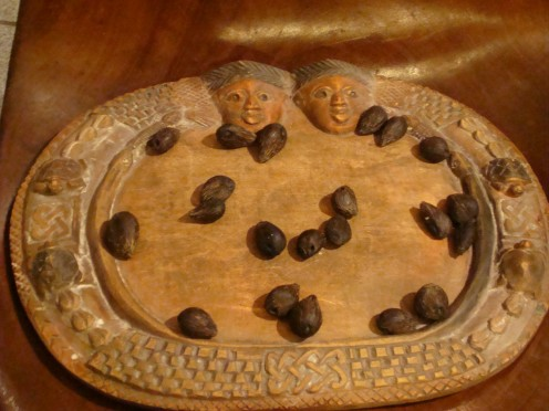 Tablet of Ifa with Palm Nuts for Divination