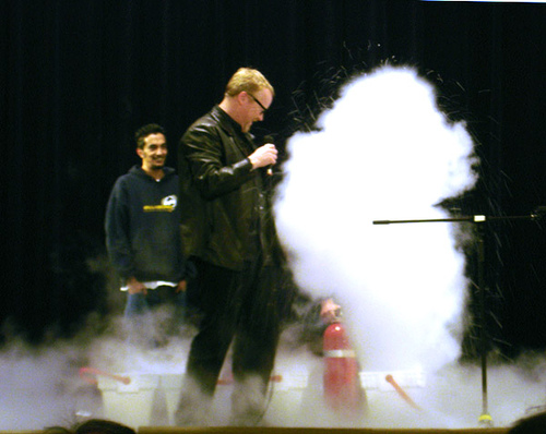 A CO2 Fire Extinguisher in action.