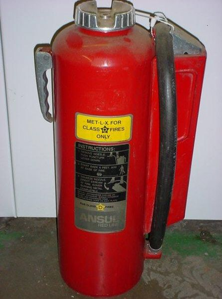Class D Fire Extinguisher, used for metal wires.