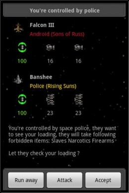 "Space Trader ""combat"" screen"