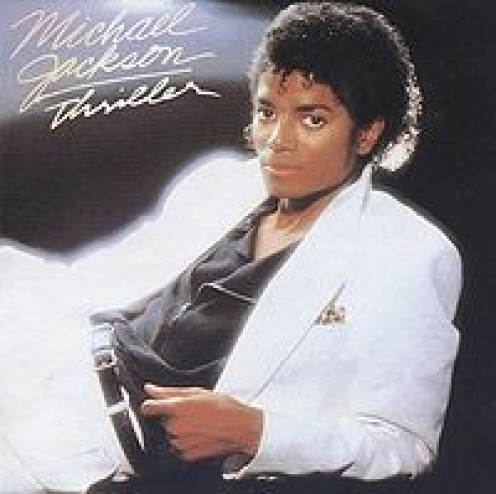 """A young Michael stricking a pose for his album """"Thriller"""""""