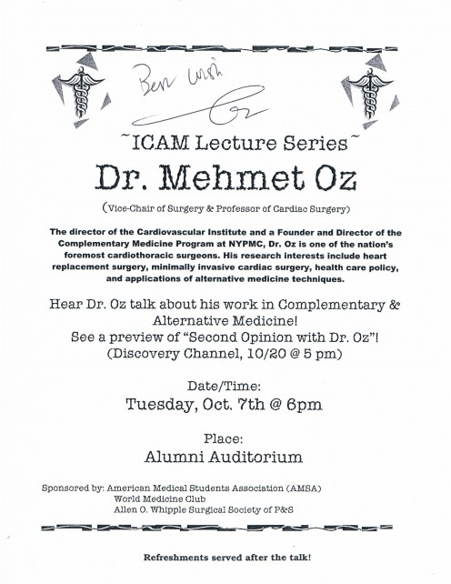 Signed flier from a lecture by Dr. Oz on October 7, 2003 at the College of Physicians & Surgeons at Columbia University Medical Center.