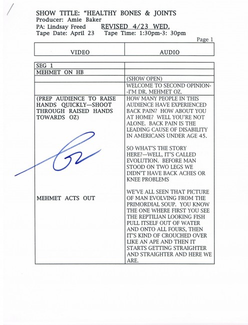Autographed script used while practicing for the April 23, 2003 taping of Second Opinion with Dr. Oz.