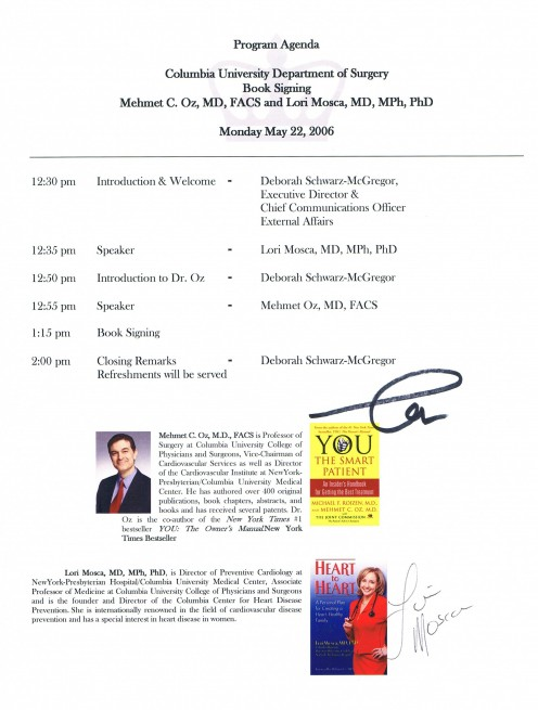 One of two fliers from a book talk featuring and signed by both Dr. Oz and Dr. Lori Mosca.