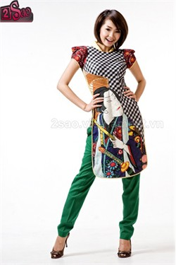 This is an example of a modern ao dai to be worn with jeans or other modern clothes.