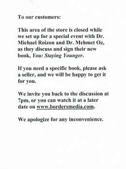Flier from Borders book store about the discussion.