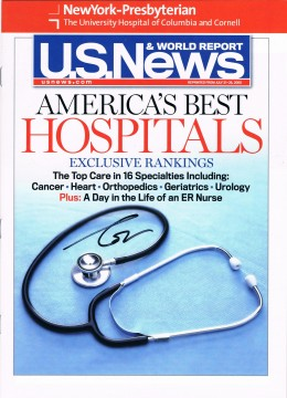 I got Dr. Oz to sign three of these - reprints from U.S. News & World Report describing the high ranking NewYork-Presbyterian Hospital got as one of the best hospitals in America.