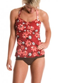 This active red and brown floral will have no problems keeping up with the surf this Summer.