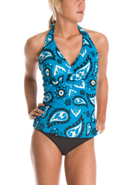This Blue Paisley halter-style tankini says that you are bold and independent.