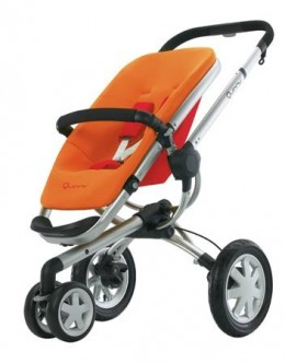 The basic stroller, shown in the Juice (orange/red) color.
