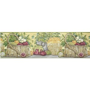 """Club Pack of 12 Rolls French Country Vegetables Wallpaper Border 9"""" #HP70174B"""